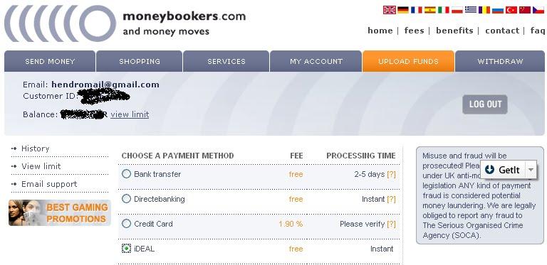 Moneybookers Fees