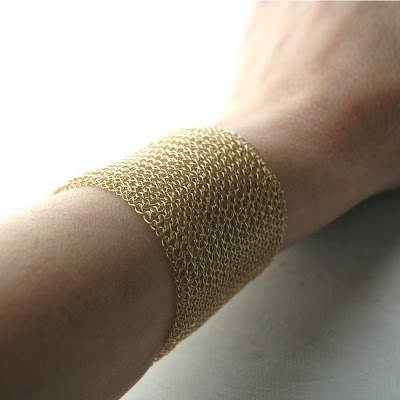 crochet yoola yael falk band bracelet wide lace lacy classic knitting gold filled wire