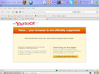 Yahoo! Web page showing Unsupported Browser / Unknown User Agent Error
