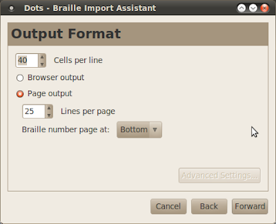 Dots braille typesetting program output format dialog