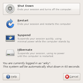 GNOME Shutdown dialog box
