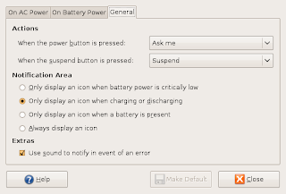 GNOME Power Management tool, General Preferences Tab