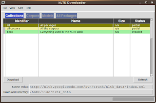 NLTK Data downloader window