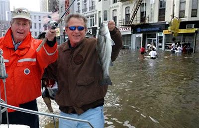 Funny George Bush Florida Flood Fishing Trip Image