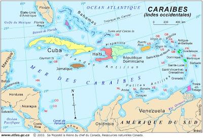 Carte de l'archipel des Caraïbes : localisation des petites Antilles et des Grandes Antilles, dans la mer des Caraïbes.