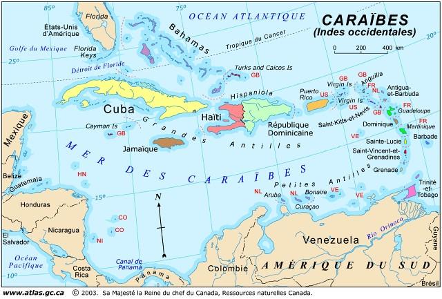 Carte des Caraibes