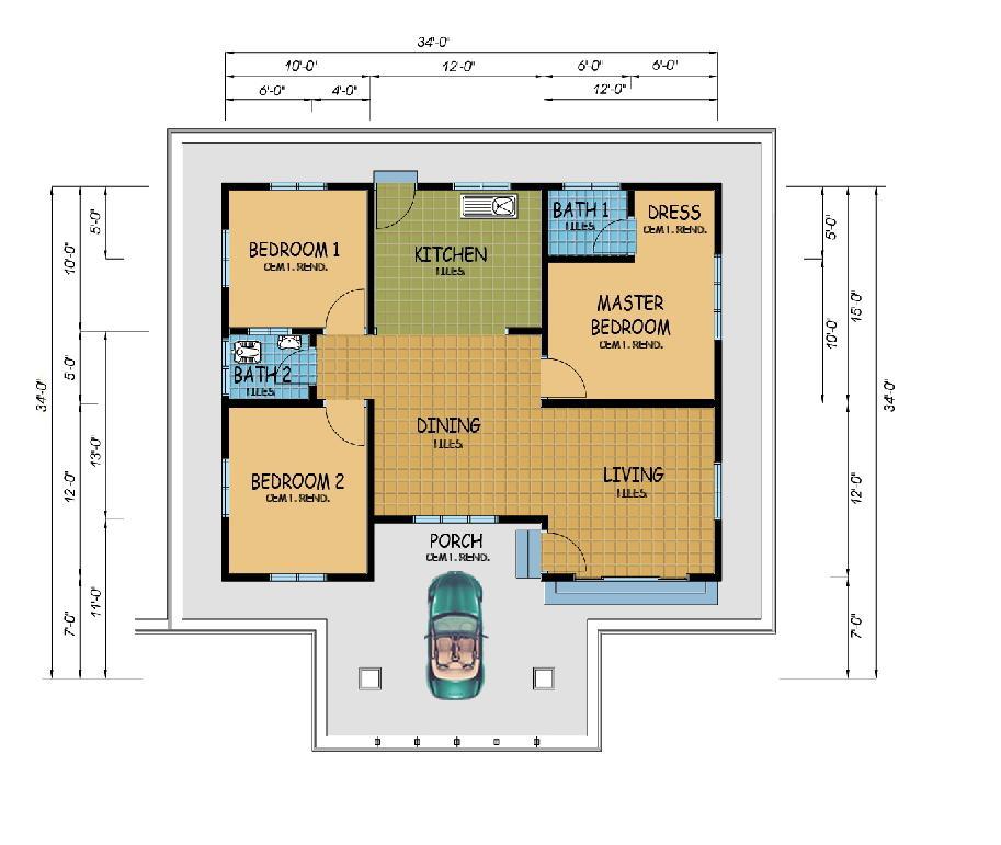 pelan lantai rumah teres tingkat 1