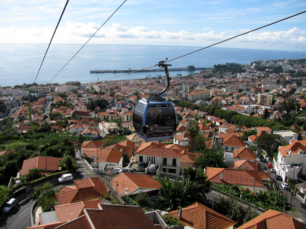 Cable car and houses