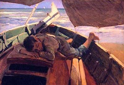 Soñando en la barca, Joaquín Sorolla Bastida, Joaquín Sorolla Bastida, Retratos de Joaquín Sorolla, Joaquín Sorolla, Pintor español, Retratista español, Pintores Valencianos