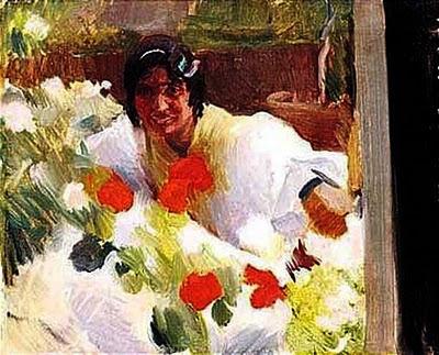 Gitana en un jardín, Joaquín Sorolla Bastida, Joaquín Sorolla Bastida, Retratos de Joaquín Sorolla, Joaquín Sorolla, Pintor español, Retratista español, Pintores Valencianos