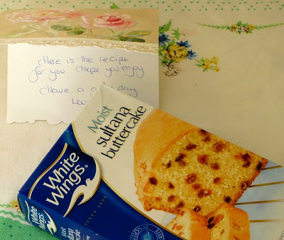 Cake mix and note that the postman delivered