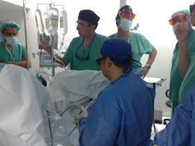 vista de video cirugía de próstata con láser verde