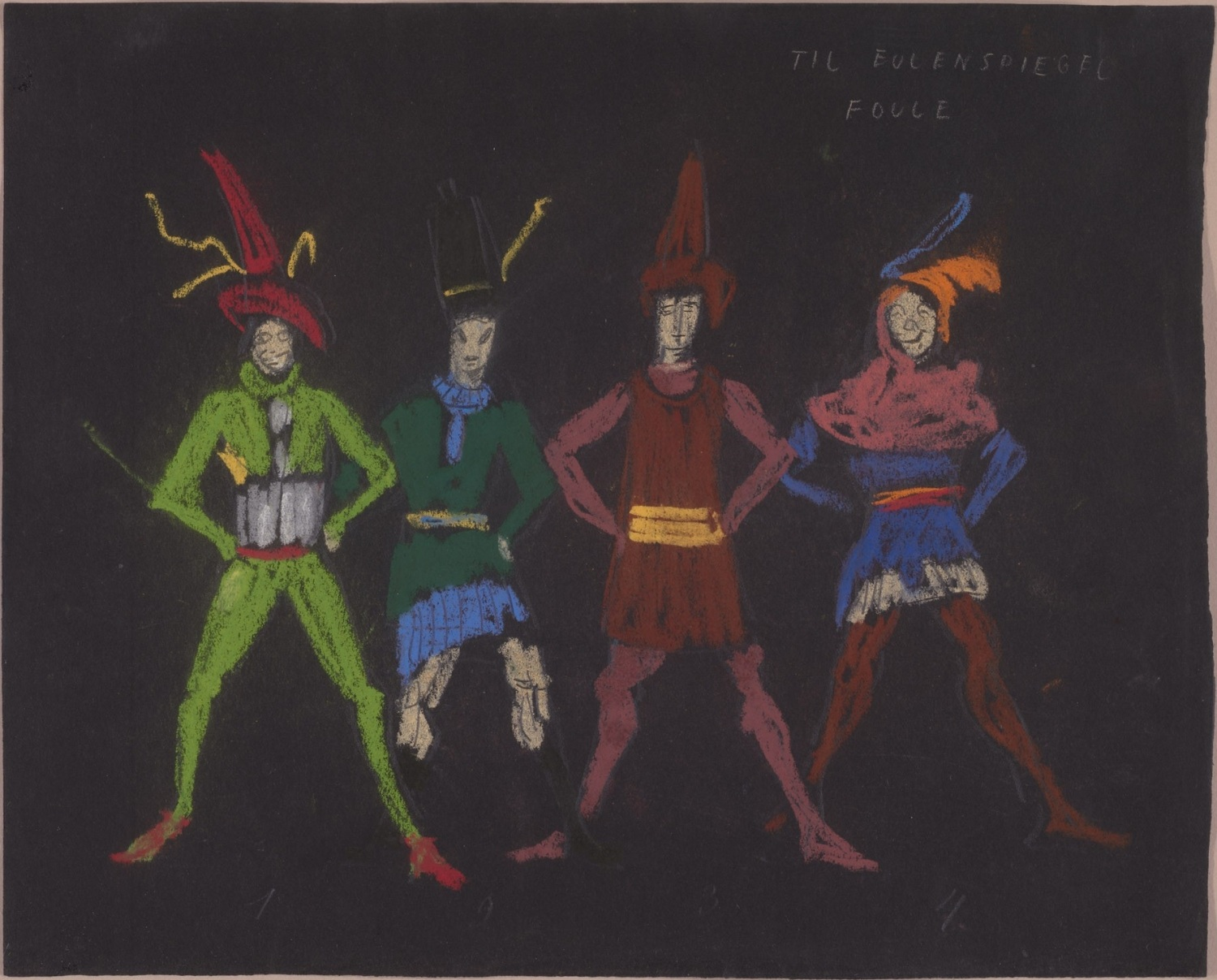 chalk sketches of German folkloric figures