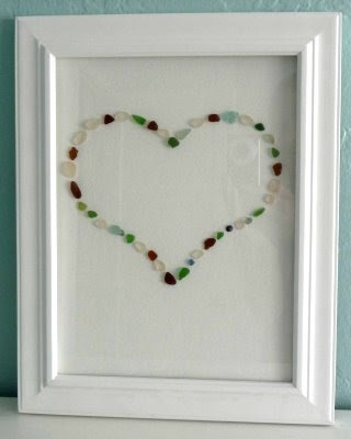 sea glass heart on canvas