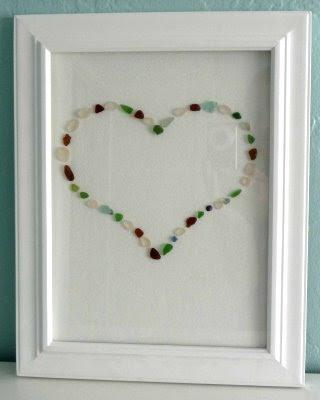 sea glass heart on canvas