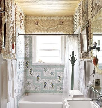 seashell covered bathroom
