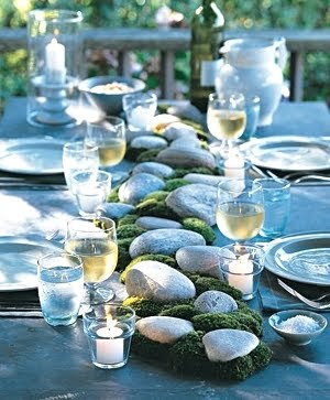 beach rocks table centerpiece