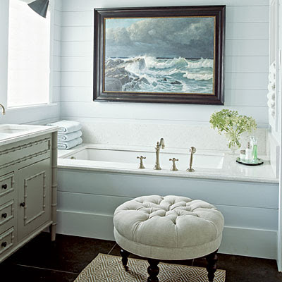 Nautical bathroom with ocean art