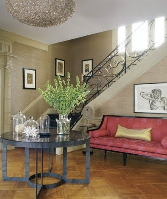 coastal accents in entry foyer