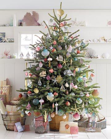 Christmas tree with handmade glitter ornaments