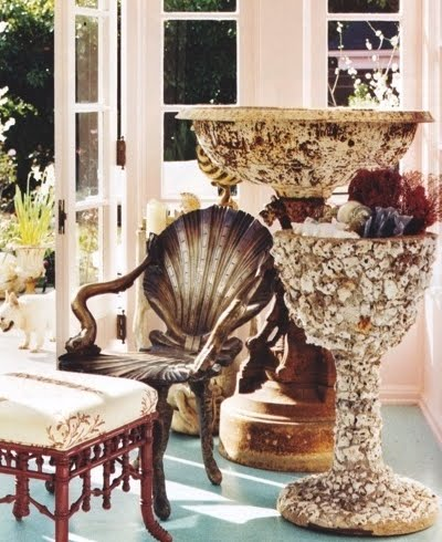 shell encrusted pedestal