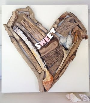 driftwood heart Valentines craft