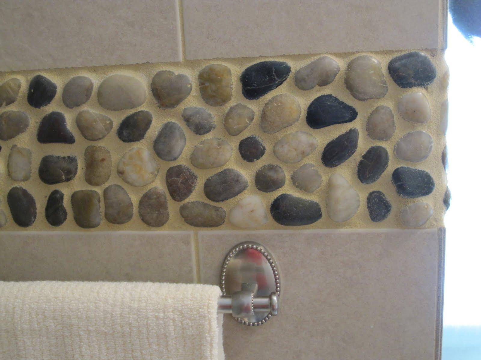 River Rock Tile Border Design Ideas