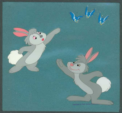 Cowan Collection Animation And Comic Art Melody Time 1 Once Upon A Wintertime 1942 6 13 Cel Of Rabbits Blue Birds On Fleischer Background