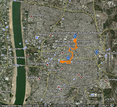 Footprints  Heritage walk of ahmedabad: Mapping the Walk on Google
