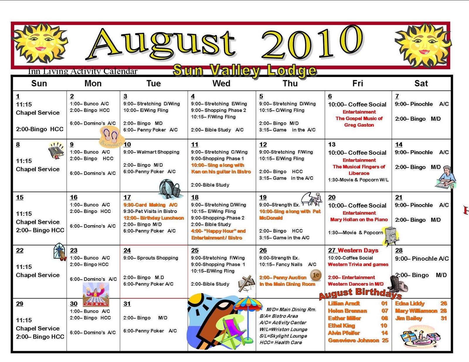 assisted living activity calendar template activities director nursing home activities ideas autos post
