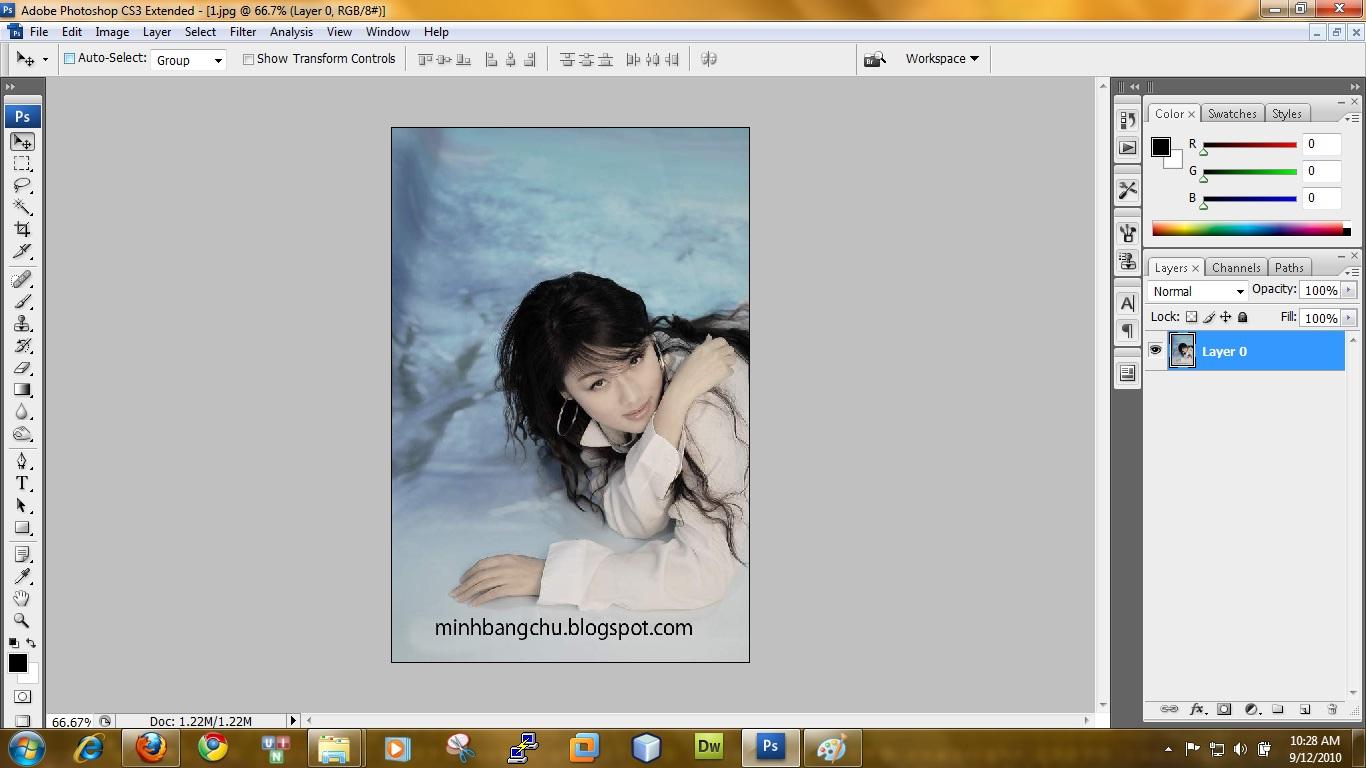 Bước 2: Nhấn Ctrl+ A để chọn toàn bộ bức ảnh (Hoặc bạn có thể dùng công cụ tạo vùng chọn để chọn một vùng nào đó trên bức ảnh và cắt ra để bo tròn)