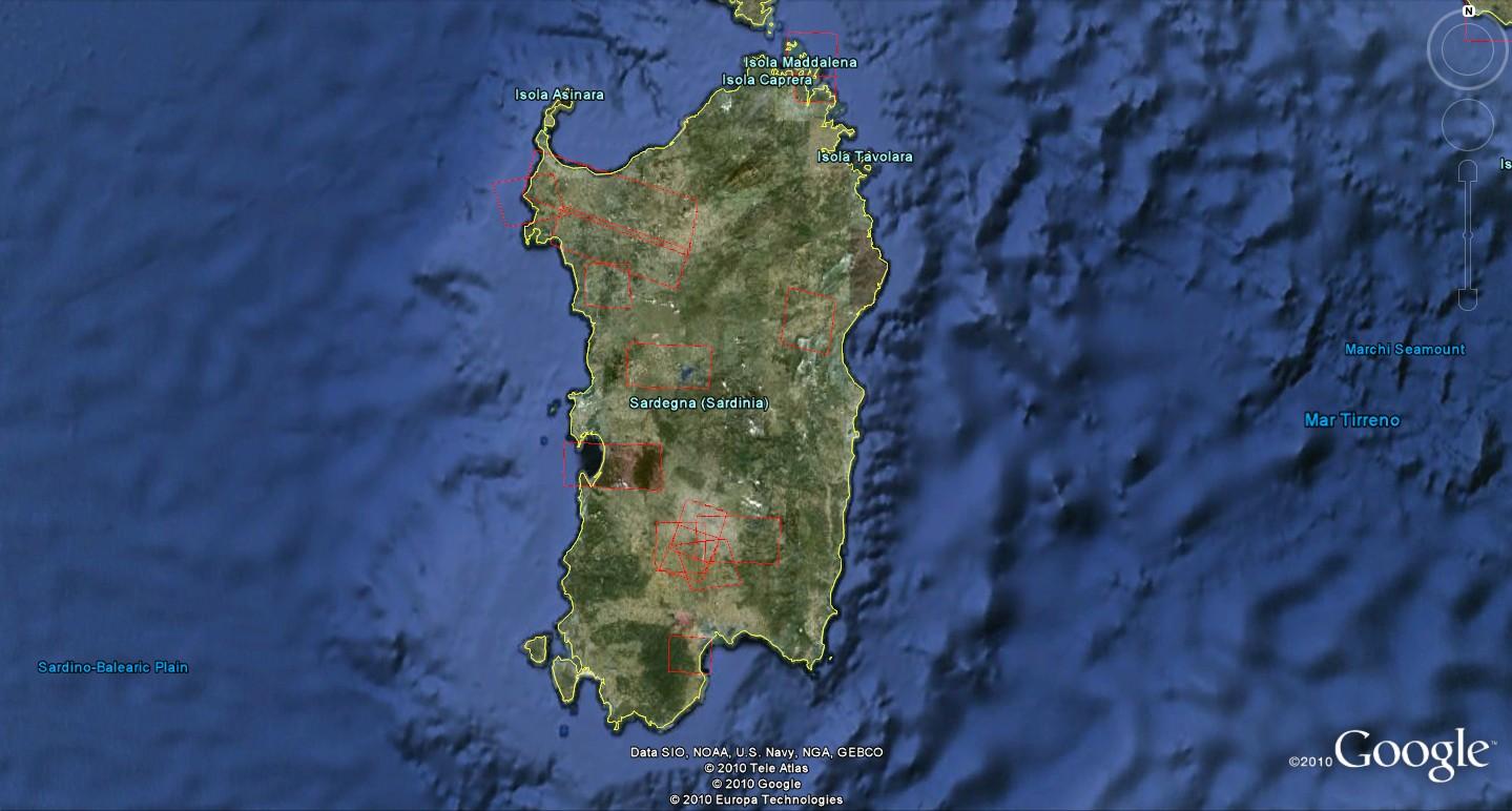 Cartina Sardegna Satellite.Google Earth Italia Gennaio 2011