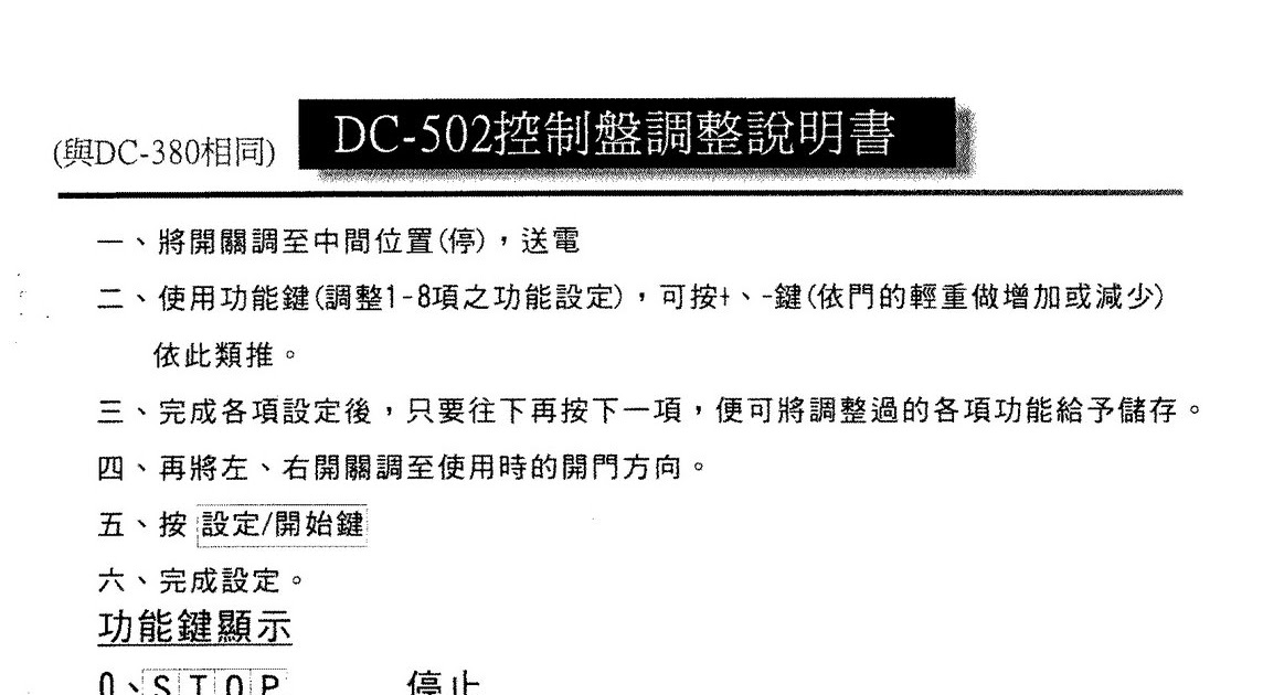 東洋DC-502 ˋ立宇0800-082-816: 東洋DC-502控制盤調整說明書 和山自動門0800-082-816
