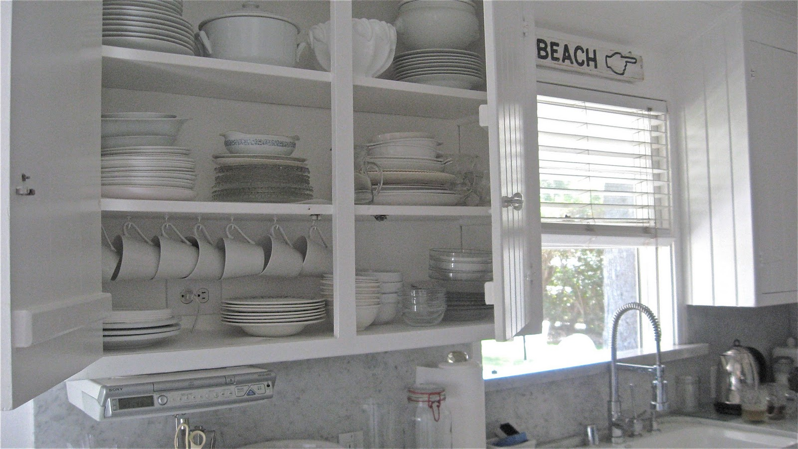 Chandeliers at Beach House 27: Beach House Kitchen & PEACE on the - White Beach House Kitchen