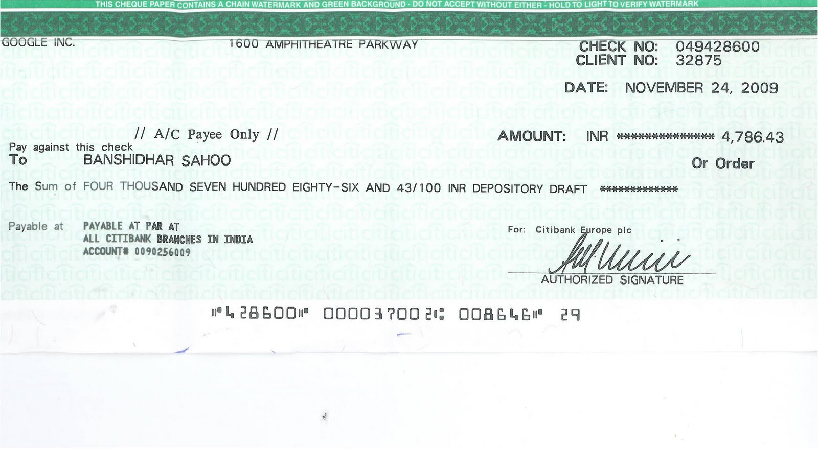 Bank Cheque Allahabad Bank Cheque