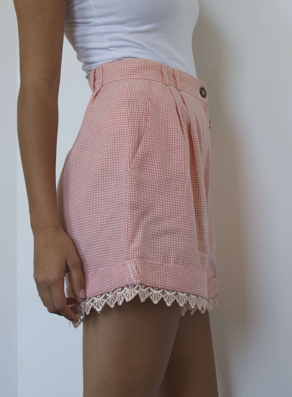 Diy Lace Trimmed Shorts A Pair Amp A Spare