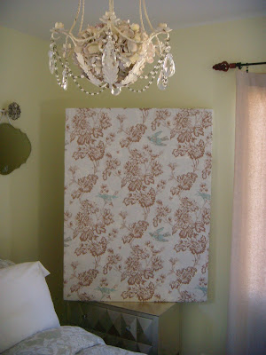 I Took An Old Canvas Frame Fabric Shower Curtain And Staple Gun To Make Some Inexpensive Wall Art Love The Blue Birds