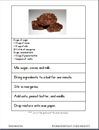 montessori for learning sequencing order of events cookie recipe