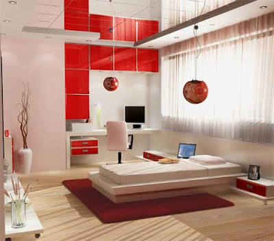 Red And White Color Combination In Modern Minimalist Bedroom