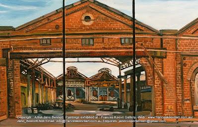Plein air oil painting  of demolition of Carriageworks Eveleigh Railway Workshops by artist Jane Bennett