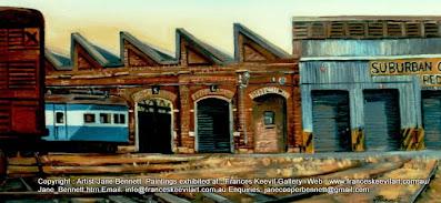 Plein air oil painting  of  trains at Carriageworks Eveleigh Railway Workshops by artist Jane Bennett