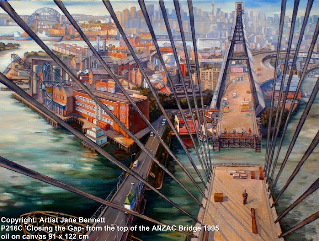 oil painting of building of Anzac Bridge by Jane Bennett