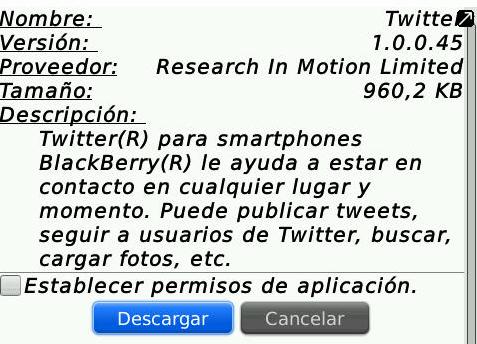 Lanzamiento Oficial de Twitter for Blackberry V1.0.0.45