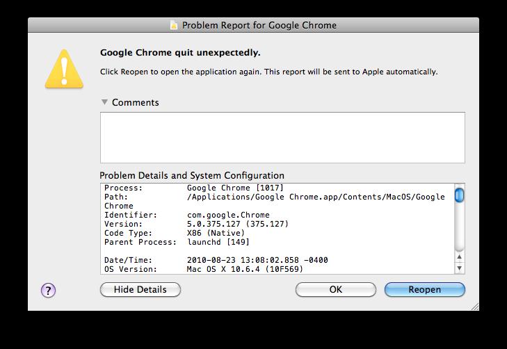 Mac OS X privacy case study: Automatic, non-cancelable crash
