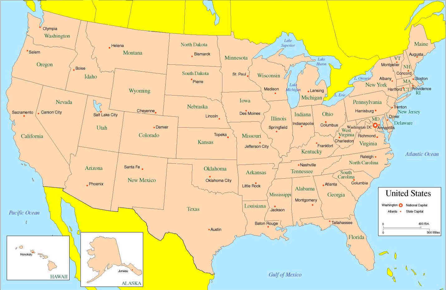 Us State Map Labeled