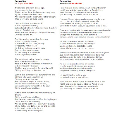 edgar allan poe annabel lee poema español