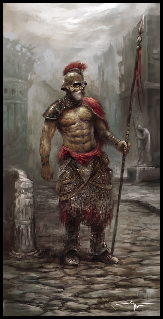 Warriors In Art Old Warrior With A Spear By Grzegorz