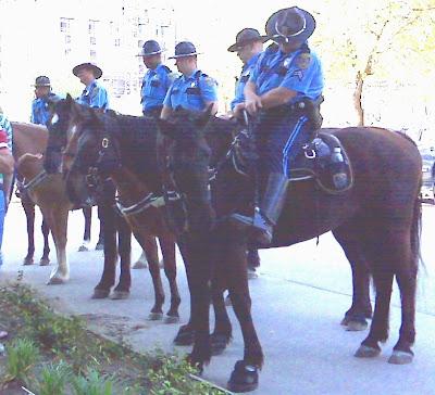 Horse cops outside HRC Gala