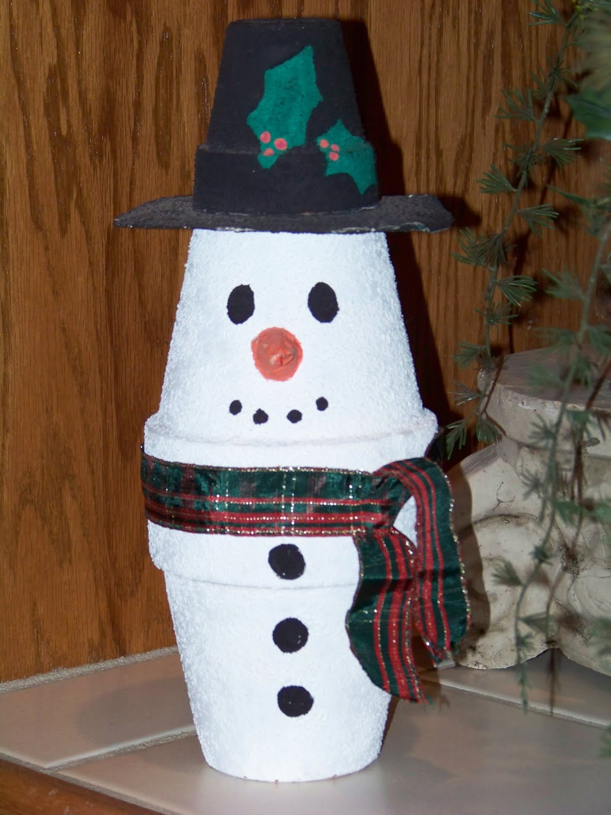 Kids Christmas Craft  Clay Pot Snowman