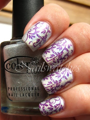 bundle monster bundlemonster imageplate konadicure stamping bm20 purple holographic worth the risque wild ad heart color club konad nailart nailswatches